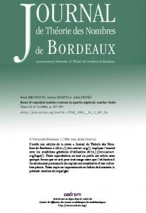 Bases of canonical number systems in quartic algebraic ... - Numdam