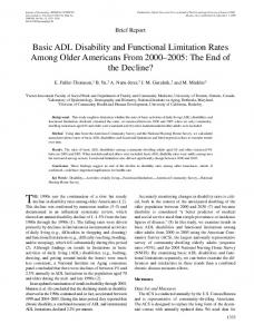 Basic ADL Disability and Functional Limitation ... - Semantic Scholar