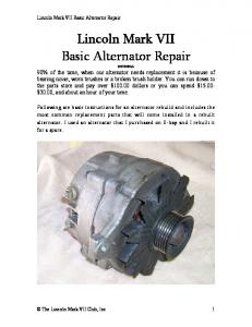 Basic Alternator Repair