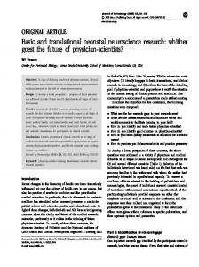 Basic and translational neonatal neuroscience research - Nature