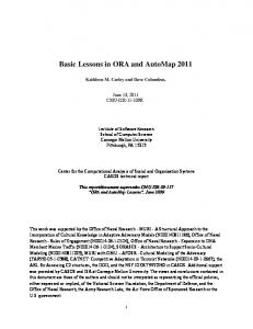 Basic Lessons in ORA and AutoMap 2011 - CASOS cmu - Carnegie ...
