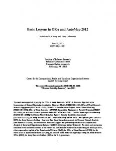 Basic Lessons in ORA and AutoMap 2012 - CASOS cmu - Carnegie ...