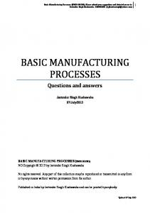 Basic Manufacturing Processes: Questions and Answers - iMechanica