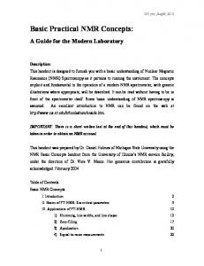 Basic Practical NMR Concepts - Chemistry - Michigan State University
