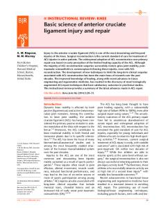 Basic science of anterior cruciate ligament injury and repair