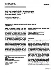 Basin and crustal velocity structure models for the ... - Springer Link