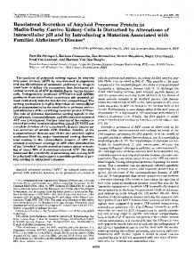 Basolateral Secretion of Amyloid Precursor Protein in - The Journal of ...
