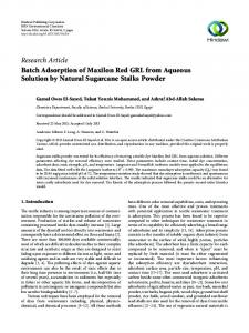 Batch Adsorption of Maxilon Red GRL from Aqueous Solution by ...