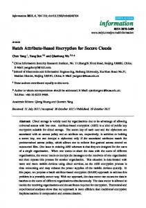 Batch Attribute-Based Encryption for Secure Clouds - Semantic Scholar
