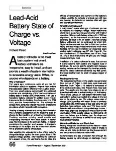 Batteries Lead-Acid Battery State Of Charge Vs. Voltage