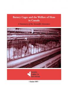 Battery Cages and the Welfare of Hens in Canada - Canadian ...