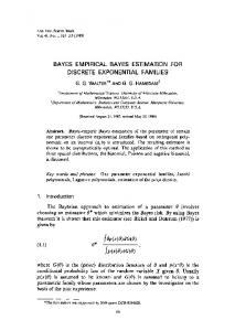 Bayes empirical Bayes estimation for discrete exponential families