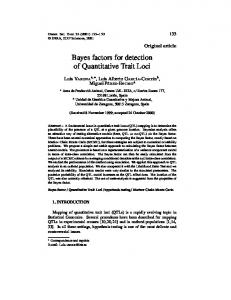 Bayes factors for detection of Quantitative Trait Loci - BioMedSearch