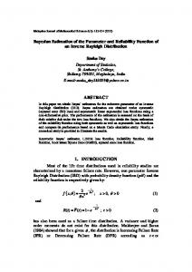 Bayesian Estimation of the Parameter and Reliability Function of an ...