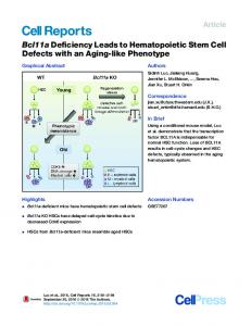 Bcl11a Deficiency Leads to Hematopoietic Stem Cell ... - Cell Press