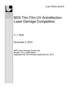 BDS Thin Film UV Antireflection Laser Damage ... - Site Index Page