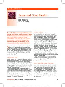 Beans and Good Health