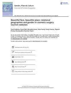 Beautiful face, beautiful place: relational geographies