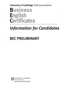 BEC PRELIMINARY: Business English Certificate (BEC ESOL ...