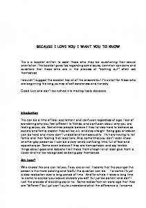 BECAUSE I LOVE YOU I WANT YOU TO KNOW - PFLAG Brisbane