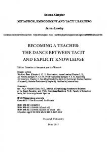 becoming a teacher: the dance between tacit and ... - Clean Language