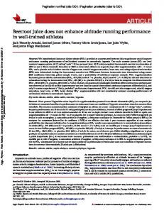 Beetroot juice does not enhance altitude running