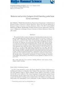 Behavior and activity budgets of wild breeding ... - Wiley Online Library
