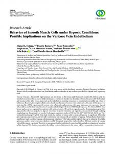 Behavior of Smooth Muscle Cells under Hypoxic Conditions: Possible