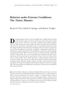 Behavior under Extreme Conditions: The Titanic Disaster - Bruno S. Frey