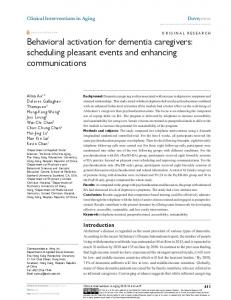 Behavioral activation for dementia caregivers: scheduling pleasant ...