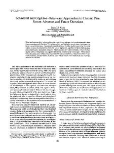 Behavioral and Cognitive-Behavioral Approaches to ... - CiteSeerX