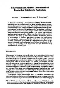 Behavioral and Material Determinants of Production ...