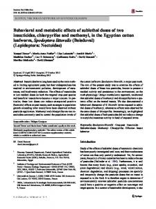 Behavioral and metabolic effects of sublethal doses of ...
