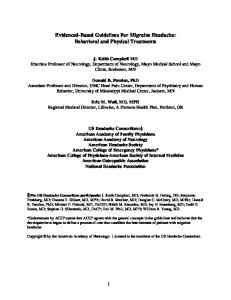 Behavioral and Physical Treatments (Nonpharmacological) - AAN