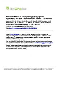 Behavioral Aspects of Lutzomyia longipalpis (Diptera: Psychodidae) in ...