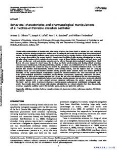 Behavioral characteristics and pharmacological ... - Semantic Scholar