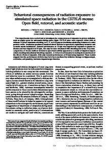 Behavioral consequences of radiation exposure to simulated space ...