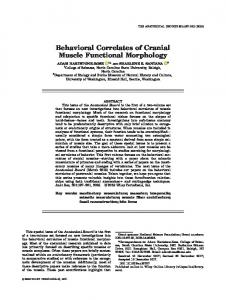 Behavioral Correlates of Cranial Muscle ... - Wiley Online Library