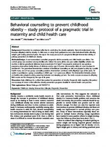 Behavioral counseling to prevent childhood obesity-study protocol of a