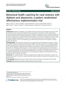 Behavioral health coaching for rural veterans with diabetes and ...