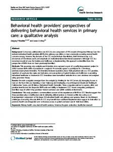 Behavioral health providers' perspectives of ... - BioMedSearch