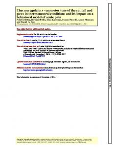 behavioral model of acute pain paws in thermoneutral ... - nocions
