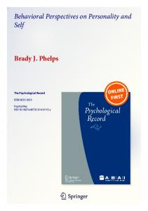 Behavioral Perspectives on Personality and Self