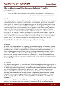 Behavioral Problems and Disorders among ... - Terrorism Analysts