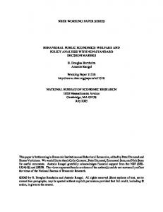 Behavioral Public Economics: Welfare and Policy Analysis with Non ...