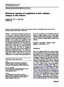 Behavioral responses of zooplankton to solar radiation changes: in ...