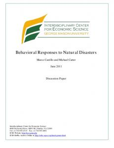 Behavioral Responses to Natural Disasters - Semantic Scholar