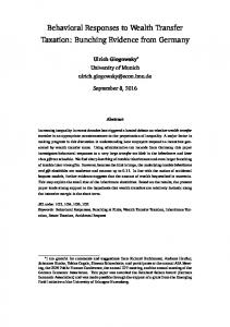Behavioral Responses to Wealth Transfer Taxation: Bunching ...