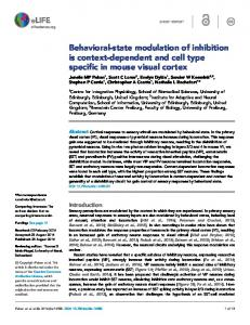Behavioral-state modulation of inhibition is context ... - Semantic Scholar
