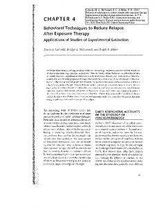 Behavioral Techniques to reduce relapse after exposure therapy ...